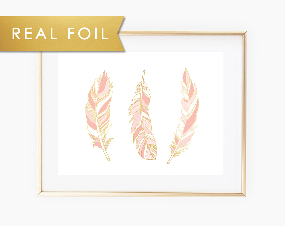 Pink White Gold Foil Feather Girl's Room Wall Art