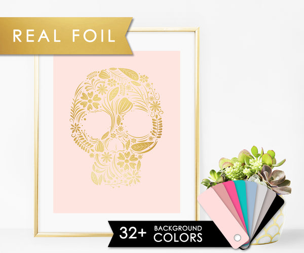 Floral Skull with Real Gold Foil  Wall Art