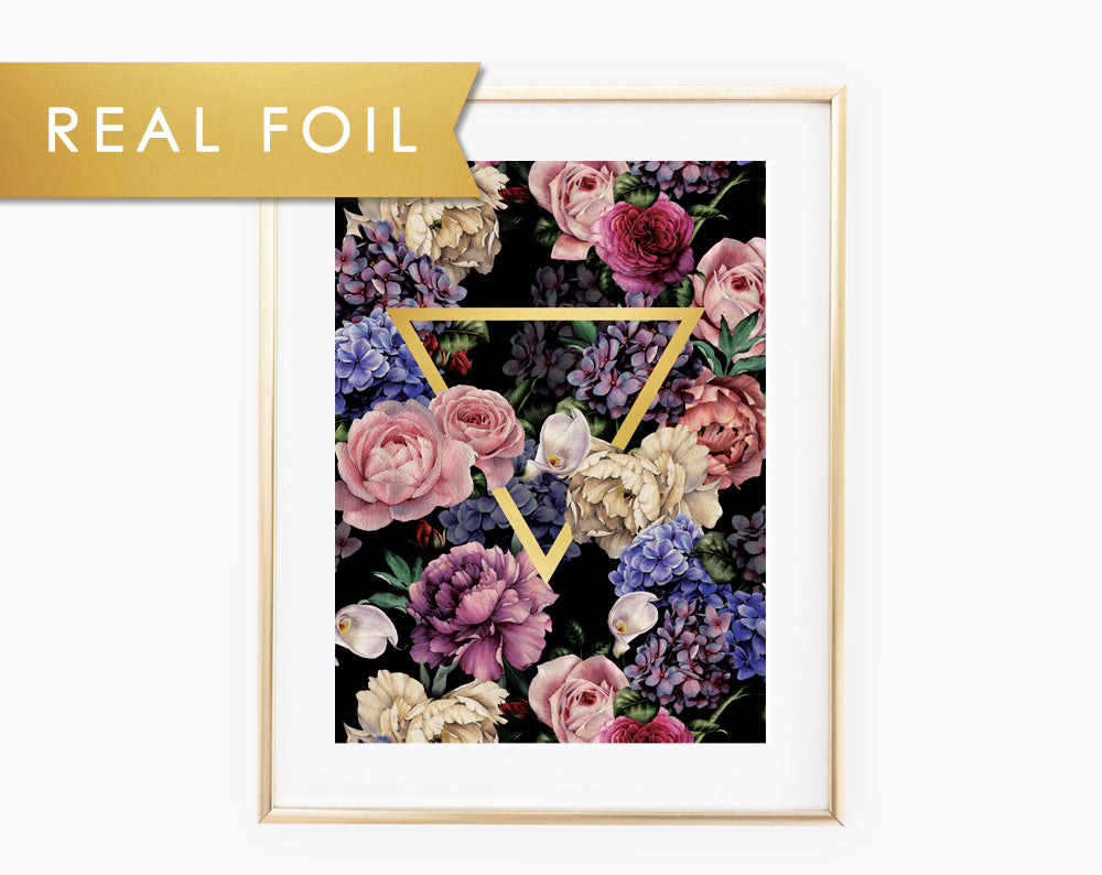 Dark Floral Triangle Gold Foil Art Print