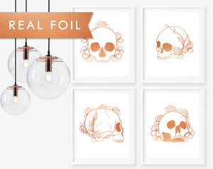 Set of 4 Floral Skulls in Copper Foil-  Real Foil Art Print