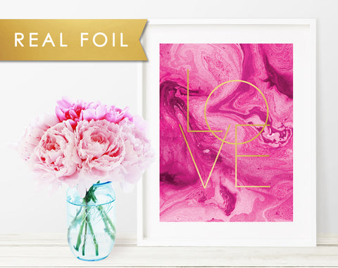 Fuchsia Marble Love Real Gold Foil Art Print