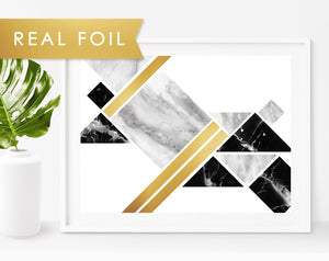Geometric Fit Art Print with Black & Gray Marble with Gold Foil