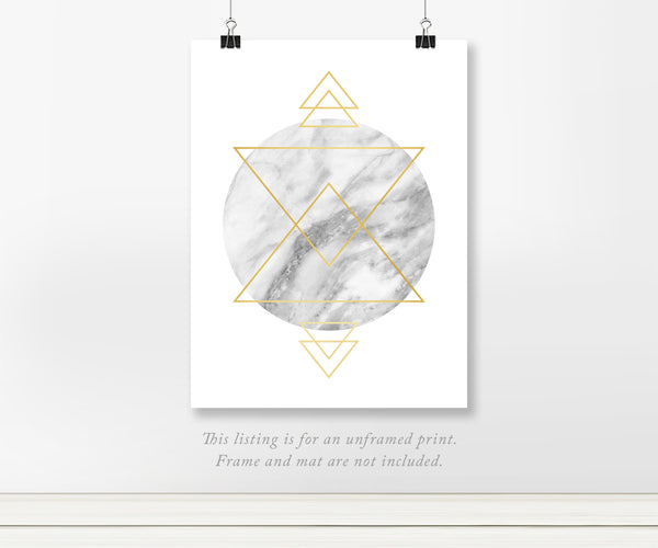 Geometric Gray Marble Circle Gold Foil Art Print