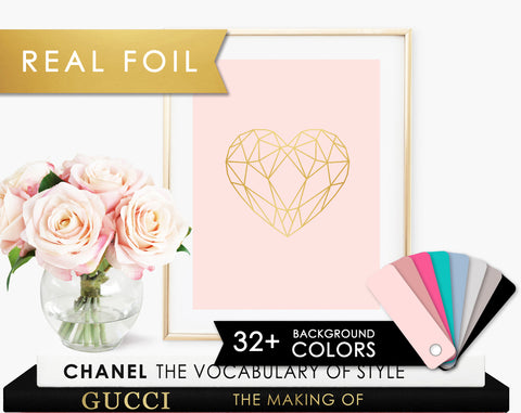 Geometric Heart Gold Foil Art Print