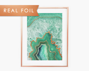 Gilded Mint Agate Real Foil Wall Print