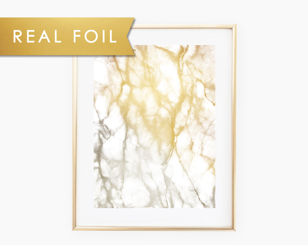 Gold Gray Marble Real Foil Art Print