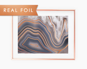 Gray Agate Quartz Real Foil Wall Print