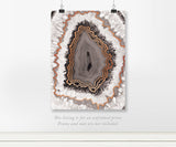 Gray Crystal Agate with Copper Foil Art Print