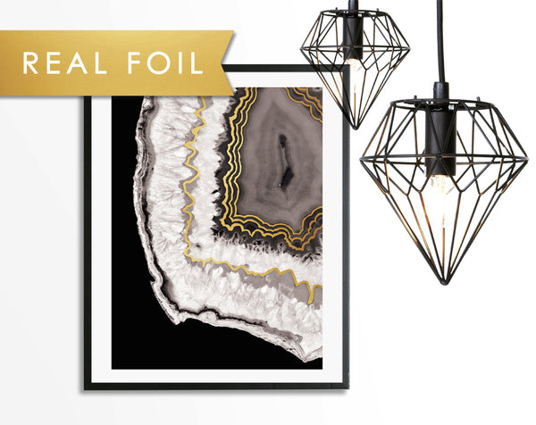 Gray Crystal Agate on Black Gold Foil Art Print
