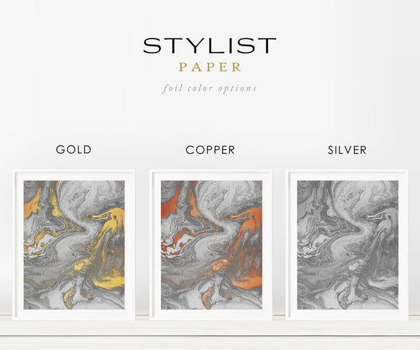 Gray Abstract Marbling Foil Art Print