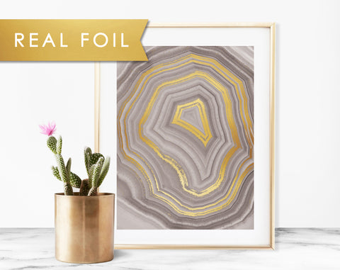Gray Geode Art Print with Real Gold Foil