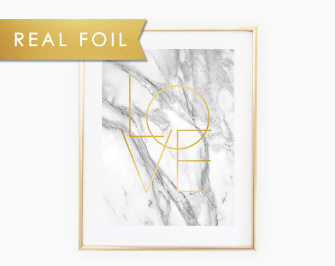 Gray Marble Love Art Print