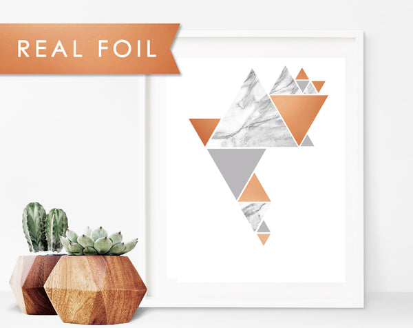 Gray Marble Triangle Party Real Foil Art Print
