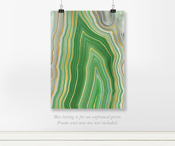 Green Apex Agate Real Gold Foil Art Print