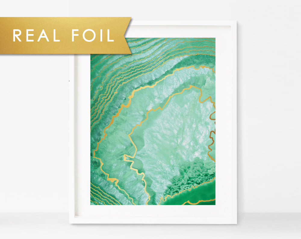 Green Crystalized Agate Real Foil Office Art Print