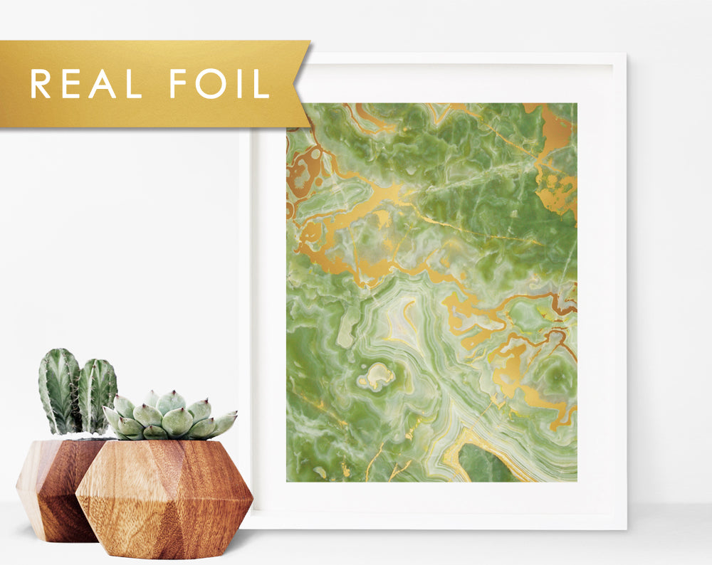 Green Onyx Stone Wall Art Print