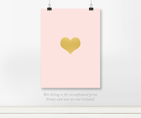 Simple Heart for Nursery Gold Foil Art Print