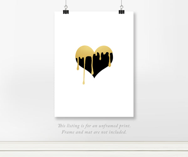 Dripping Heart - Abstract Foil Wall Art Painting Print
