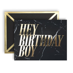 Hey Birthday Boy Black Marble Card