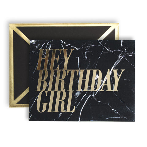 Hey Birthday Girl Black Marble Card