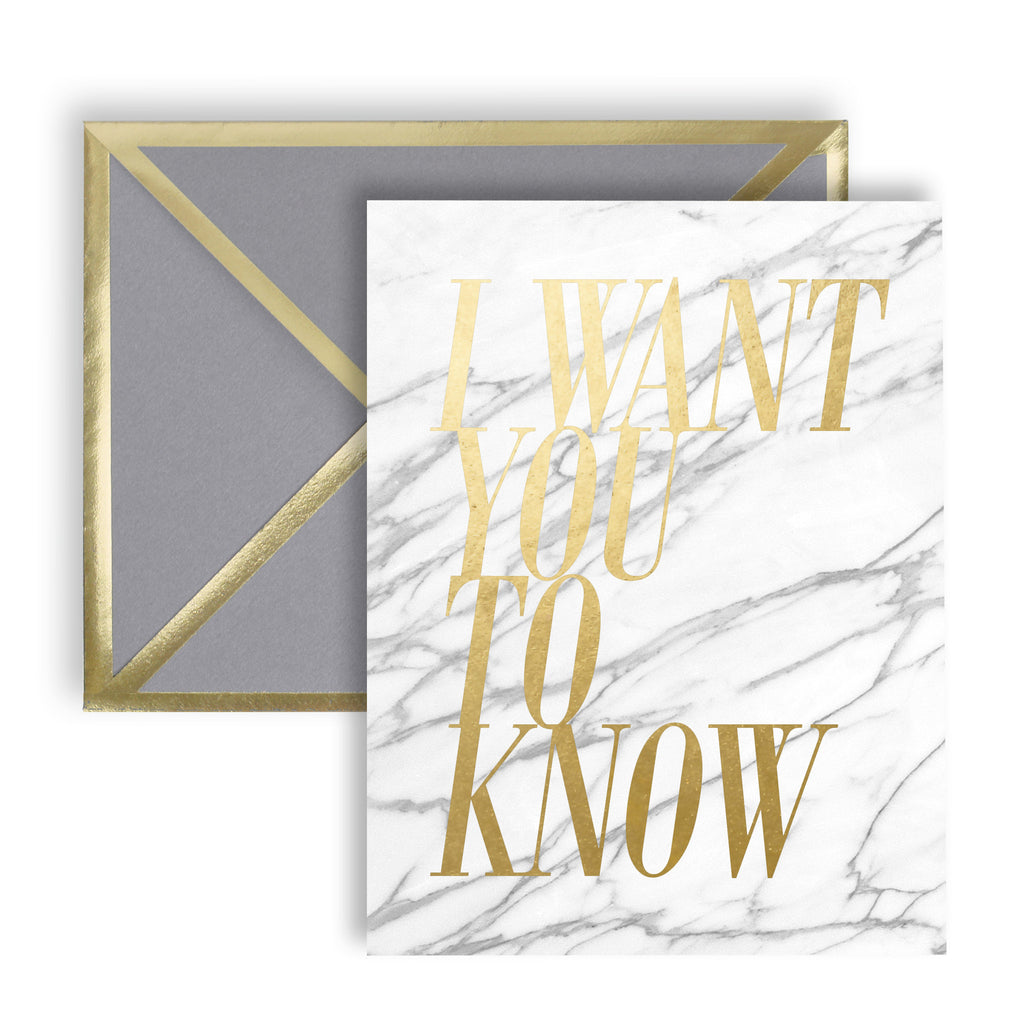 I Want You To Know Gray Marble Card