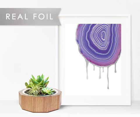 Indigo Dripping Agate Real Foil Wall Print