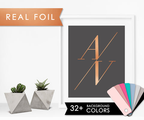 Slant Initials on Charcoal Background with Real Copper Foil Art Print 11x14, 8x10, 5x7