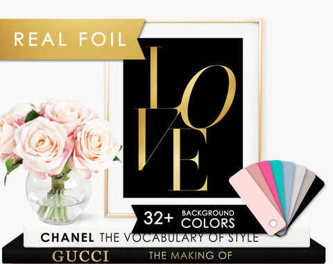 LOVE Type Black and Real Gold Foil Art Print