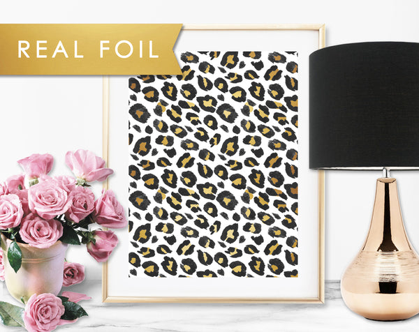 Gold Leopard Real Foil Art Print