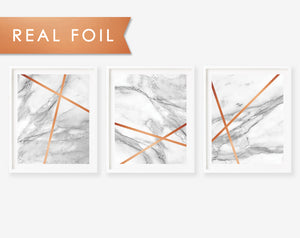 Set of 3 Copper Line Marble - Modern Criss Cross Art Print Poster