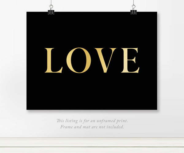 Simple Love Text Real Gold Foil Art Print