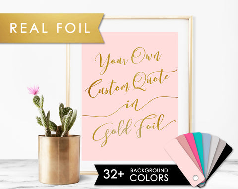 Custom Quote Lovely Script on Blush or Any Color Background