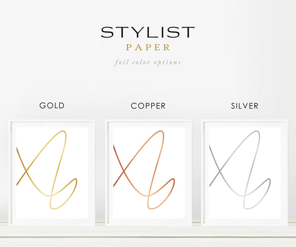 Set of 3 Real Copper Foil Minimalist Line Art Prints