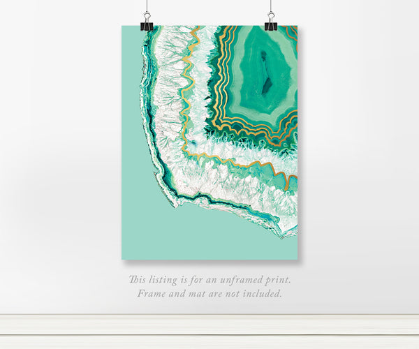 Mint Crystal Agate Real Foil Wall Art
