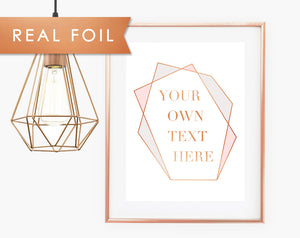 Your Own Text in Real Copper Foil Modern Angle Frame