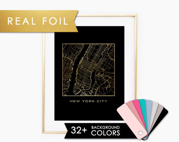 Line Map of New York City Foil Art Print