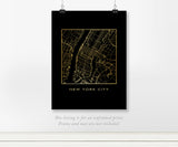 New York City, Manhattan Map - Real Gold Foil on Black Art Print