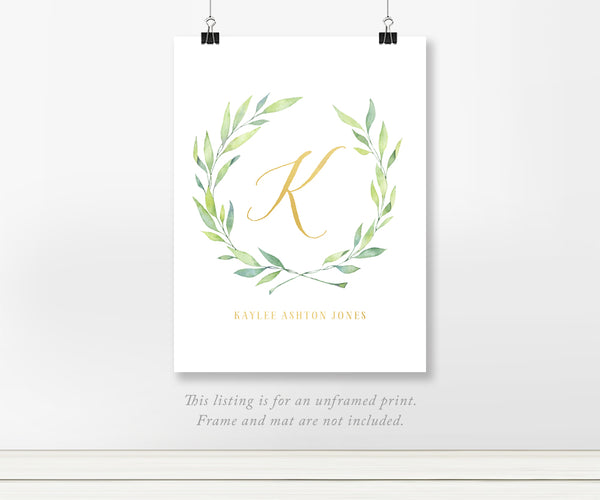 Olive Leaf Laurel - Custom Initial Script for Baby