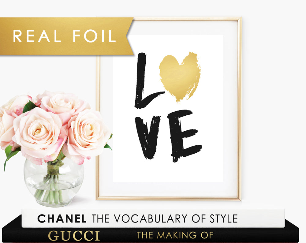 Painted Love Real Gold Foil Art Print