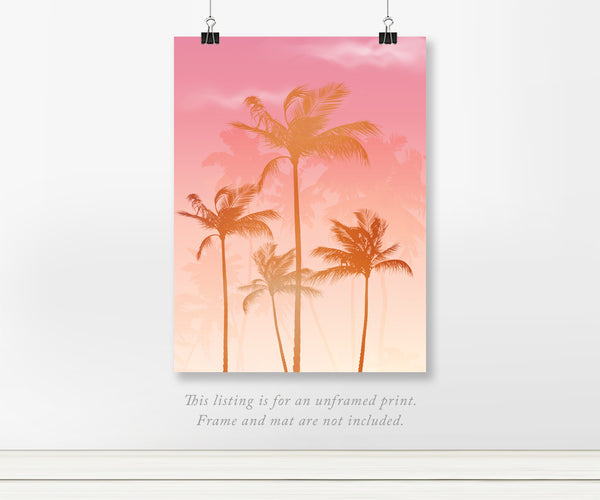 Pink Sunset Palm Tree Real Foil Wall Print