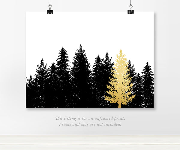 Gold Pine Tree in Forest Art Print with Real Foil