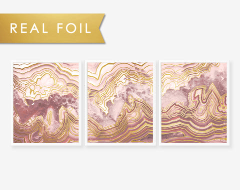 Set of 3 Panels Pink Agate Slab- Art Print with Gold Foil Geode Art 3 Panels