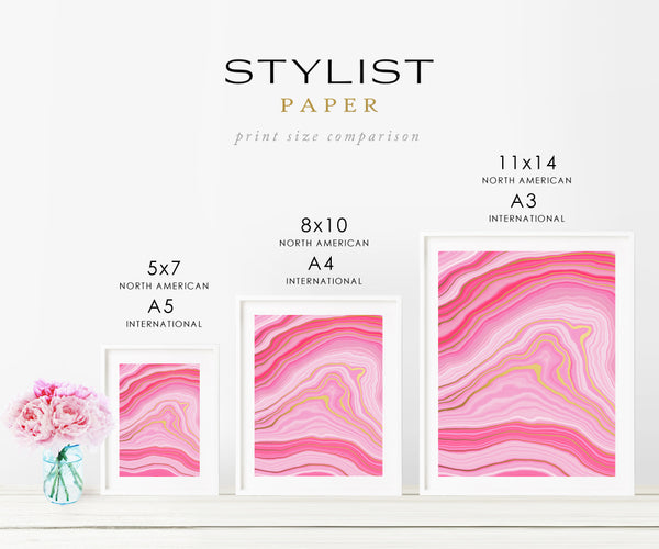 Pink Agate Waves Foil Art Print 2 Panels
