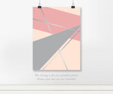 Pink and Gray Geometric Real Foil Art Print