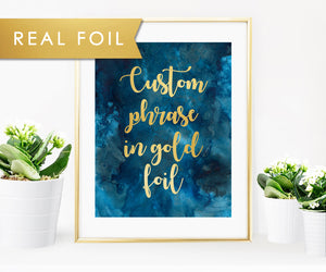 Custom Gold Foil Wall Art with Blue Watercolor Background and Playful Script Font