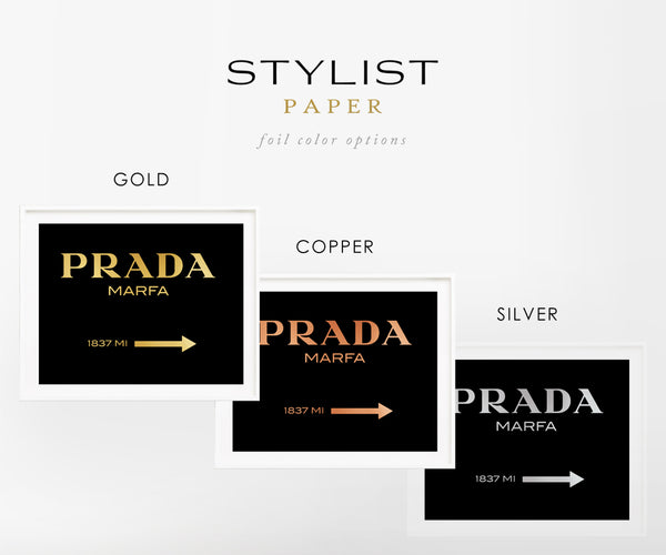 Prada Marfa on Black with Real Gold Foil Art Print