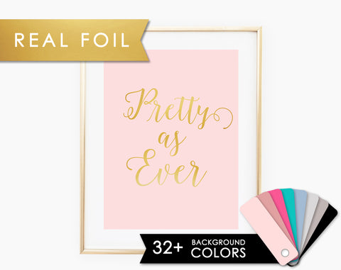 Pretty as Ever-Blush Pink and Real Gold Foil Art Print