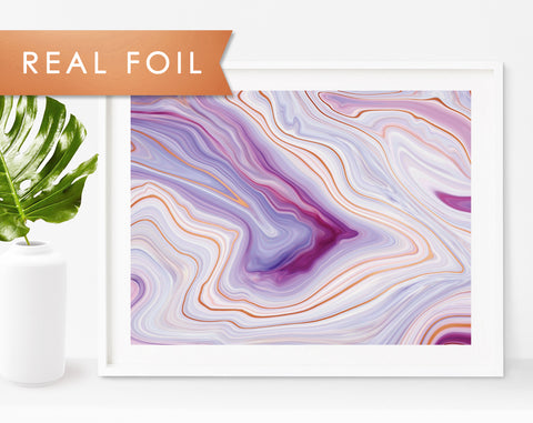 Purple Abstract Agate Marble Art Print