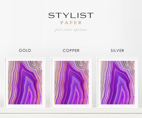 Purple Apex Agate Foil Wall Art