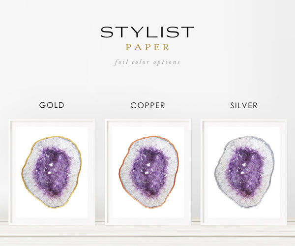 Purple Oval Crystal Geode with Real Silver Foil Print- Geode Art
